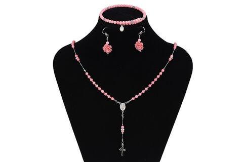 Parure argento e corallo rosa