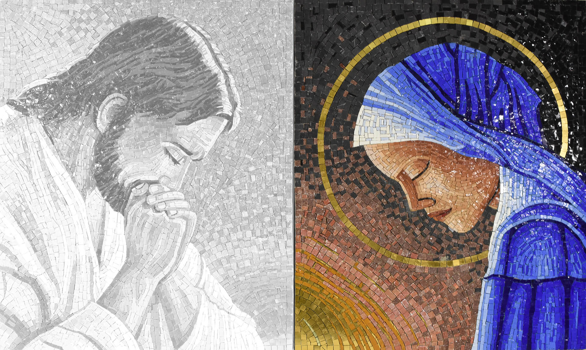 Madonna In Prayer Realized In Mosaic Handmade In Italy