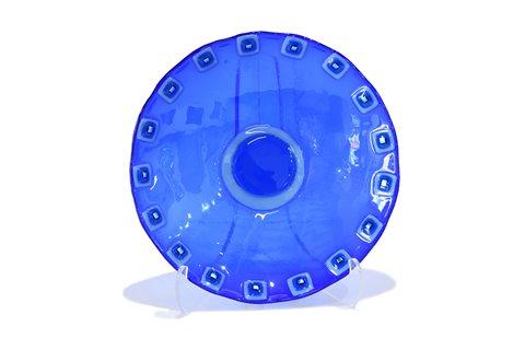 Milieu de table rond en verre bleu