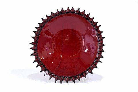 Milieu de table rond en verre rouge