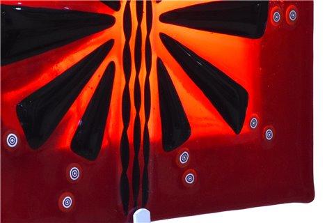 Lampe à mur en fusion de verre rouge