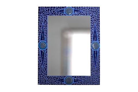Specchio a mosaico blu