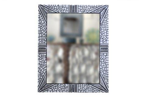 Specchio a mosaico bianco