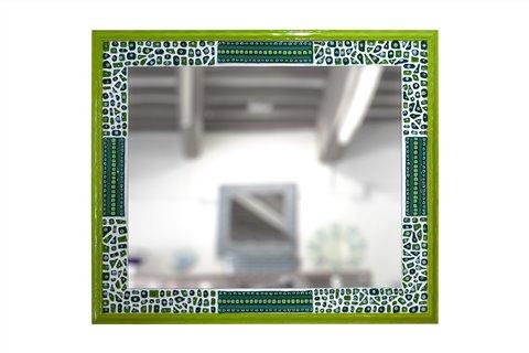 Miroir en mosaïque vert