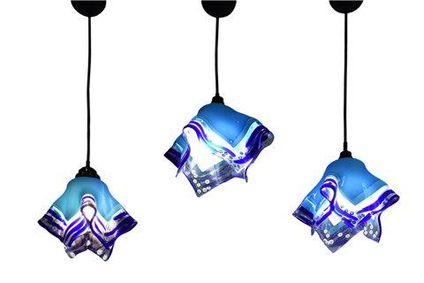 Lampadario tris azzurro