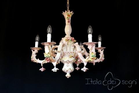 Lampadario a sei luci in ceramica, dimensioni medie