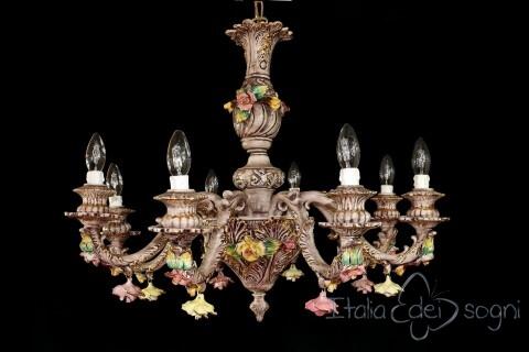 Lampadario a otto luci in ceramica