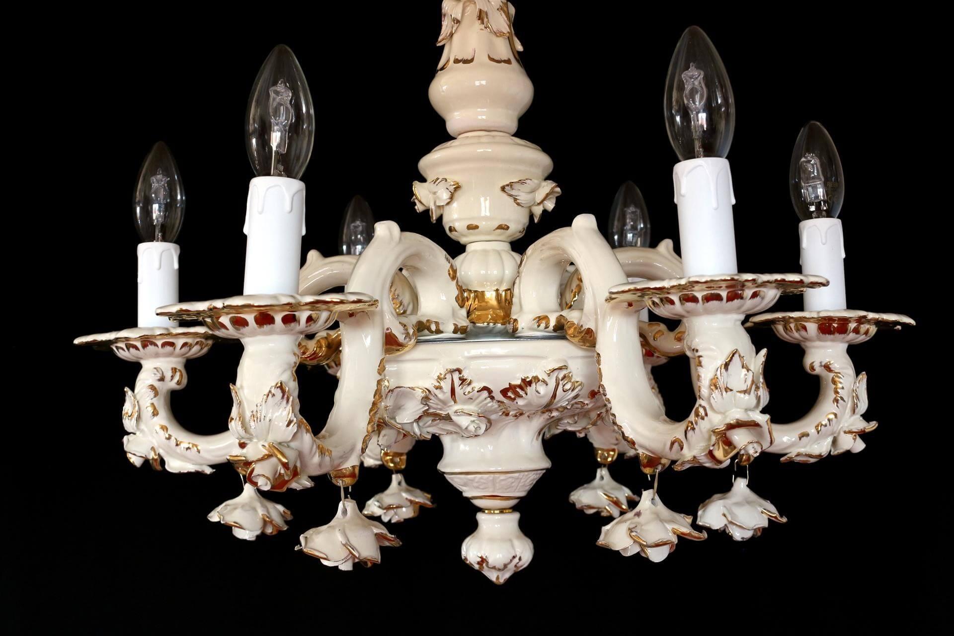 Lampadario Ceramica Di Bassano.Lampadario A Sei Luci In Ceramica