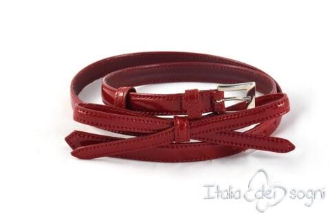 Cintura da donna in pelle con nastrino, rosso