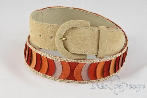 Cintura da donna in pelle scamosciata