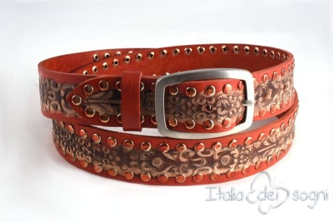 "Leather unisex belt ""Zagor rossa"""