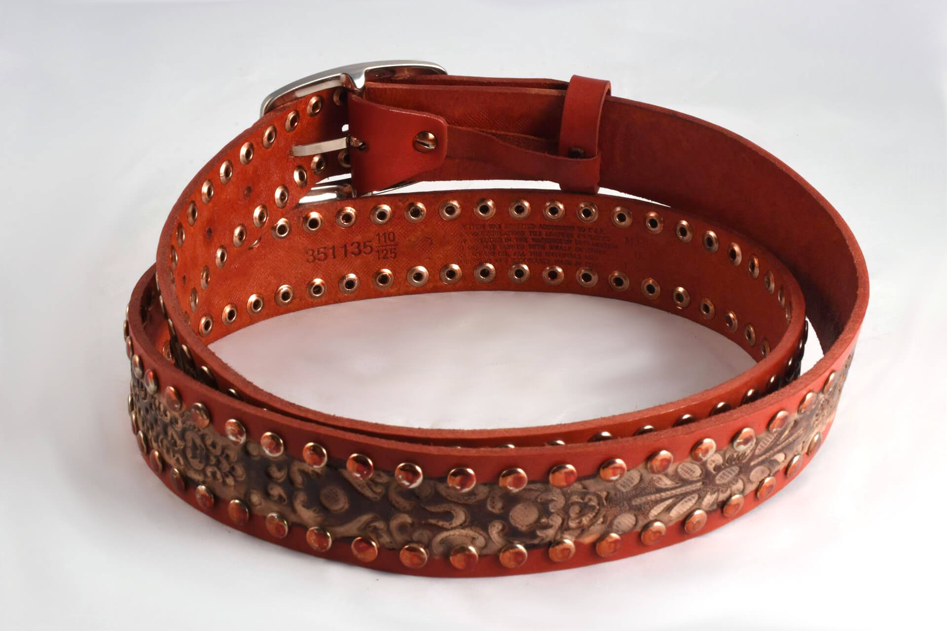 Leather Unisex Belt With Studs