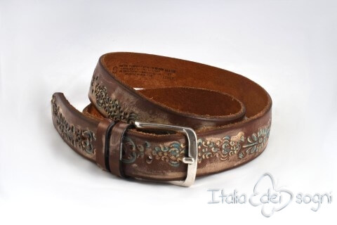 "Leather belt ""Messico marrone"""
