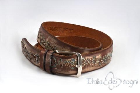 "Leather belt ""Messico marrone"""