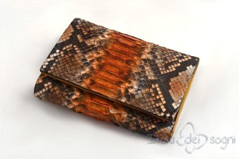 "Women's wallet ""Mia taupe arancio"""
