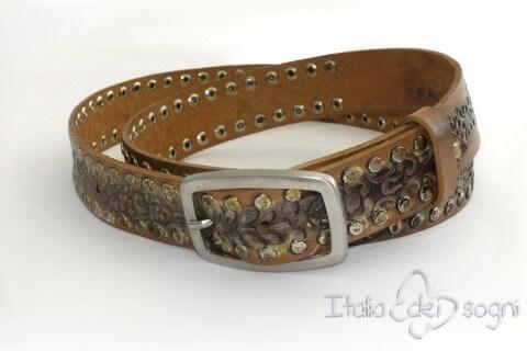 "Leather unisex belt ""Zagor rossa"""