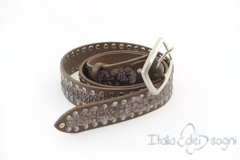 "Leather unisex belt ""Zagor marrone"""