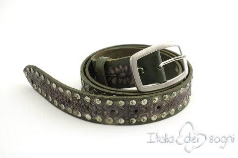 "Leather unisex belt ""Zagor verde"""