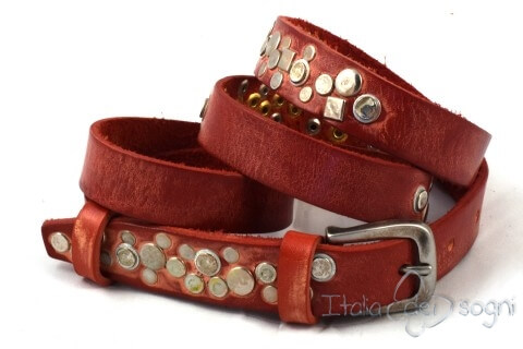 "Tight leather belt ""Estrella s rossa"""