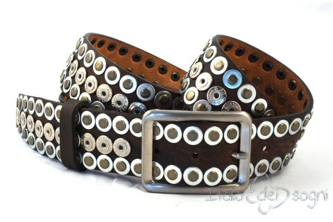 "Leather belt ""Rivet marrone"""