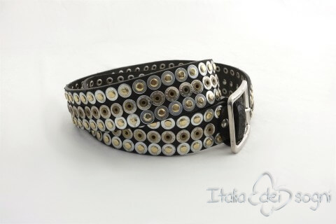 "Leather belt ""Rivet nero"""