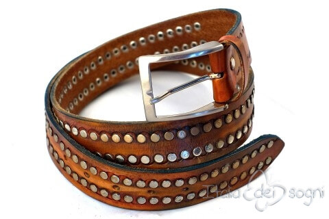 "Carved leather belt ""Chiodo marrone"""