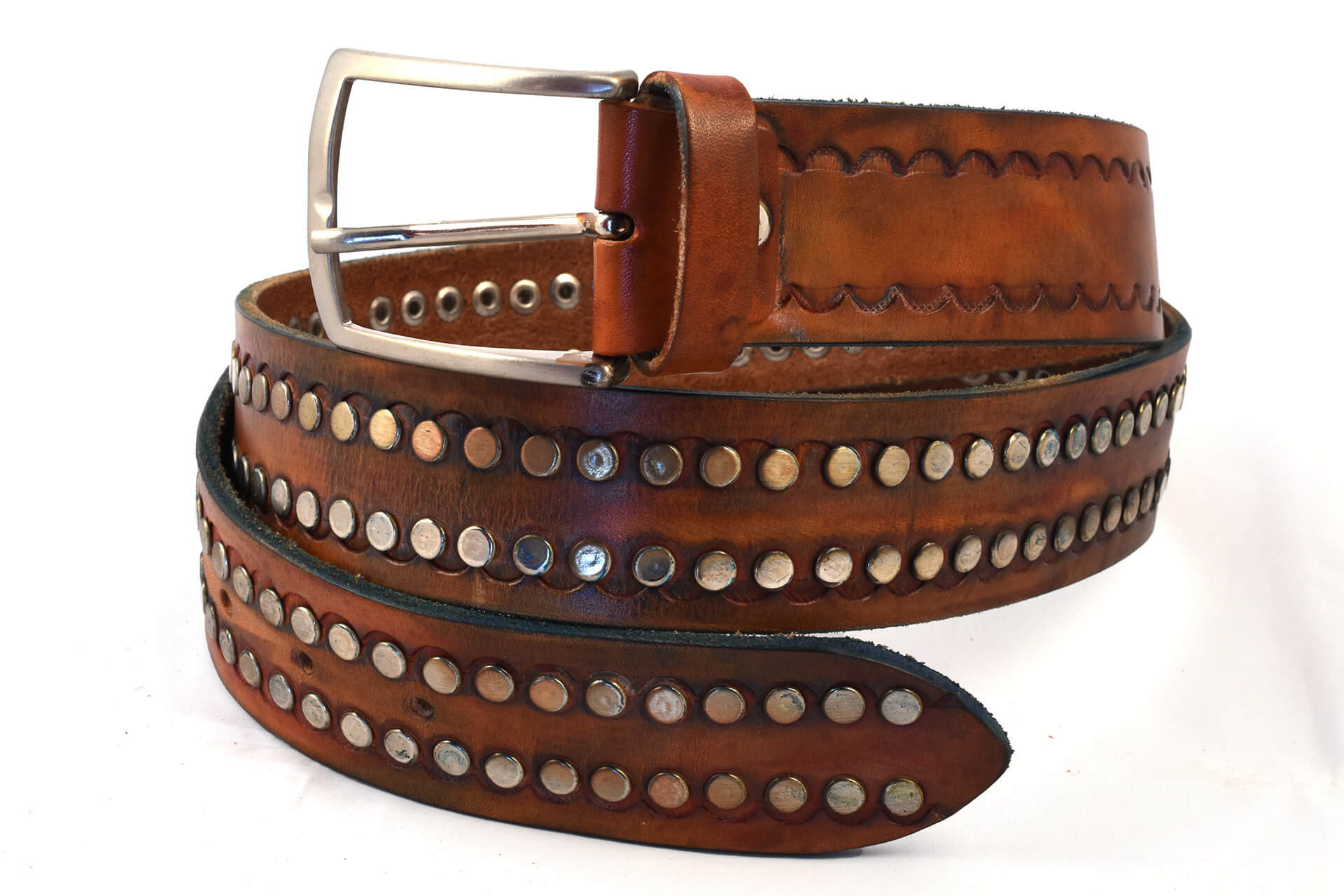 Carved leather belt with studs