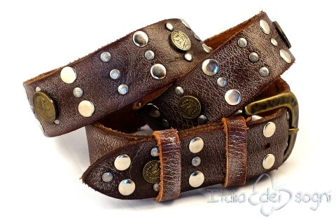 "Carved leather belt ""Antiqua marrone """