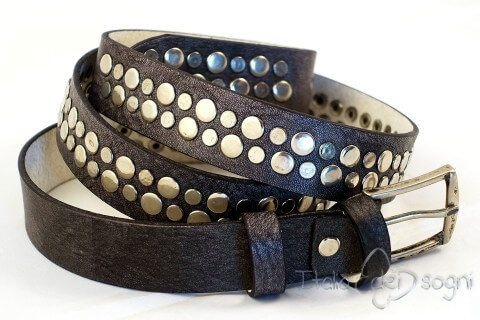 "Leather belt ""Metal grigia """