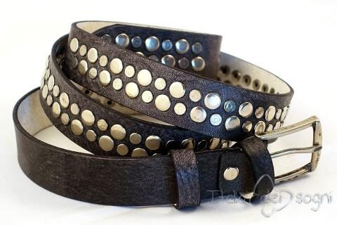 "Leather belt ""Metal grigia """