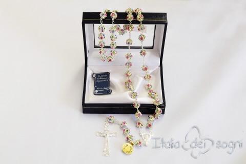 Vielfarbige Rosenkranz aus Silber und Swarovski