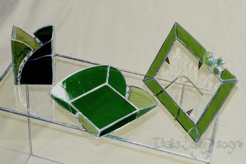 """Composizione in vetro """"gioie verde"""""""