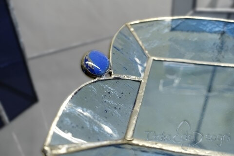 """Composizione in vetro """"gioie azzurro"""""""