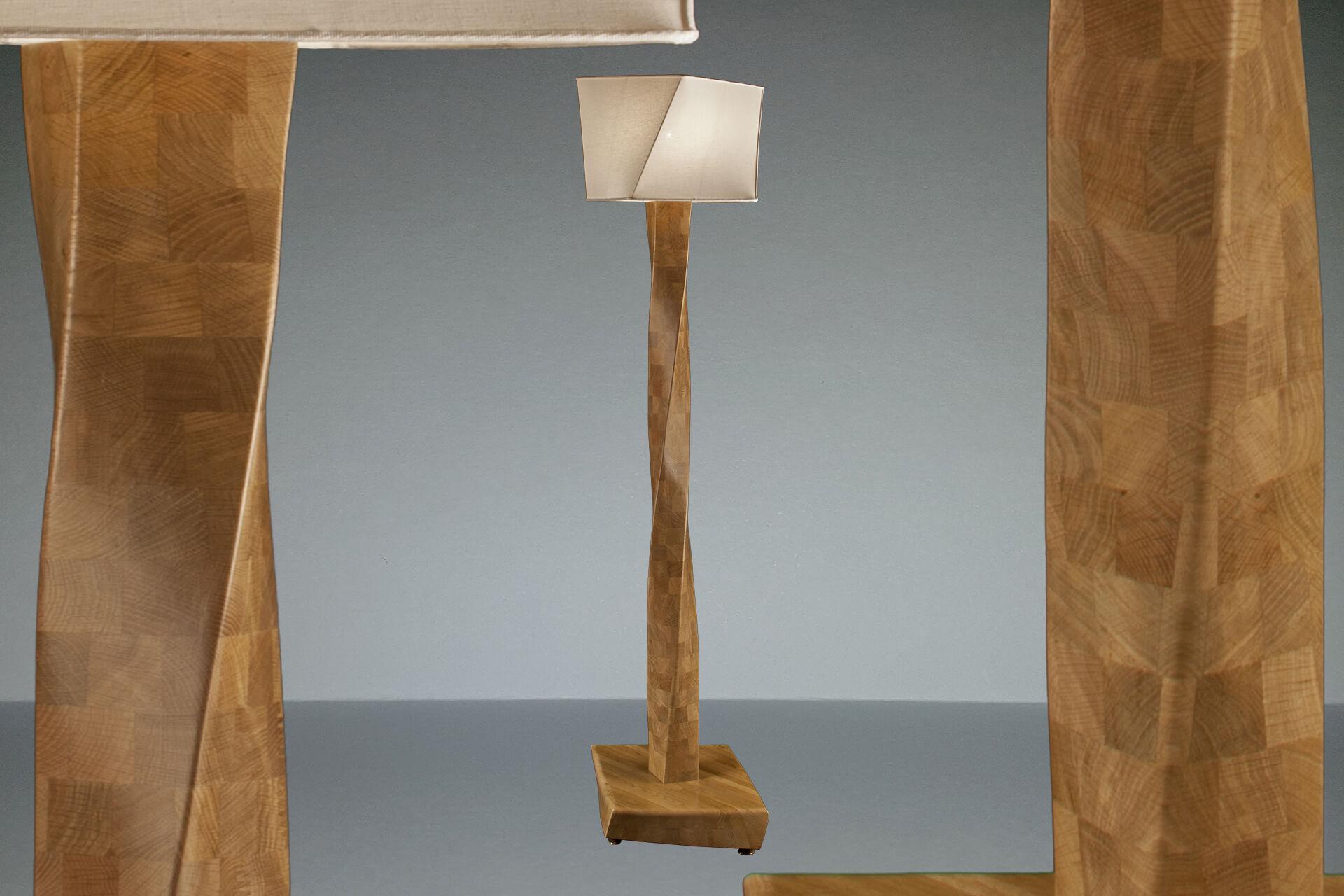 Handgemachten design stehlampe von eichenholz in italien