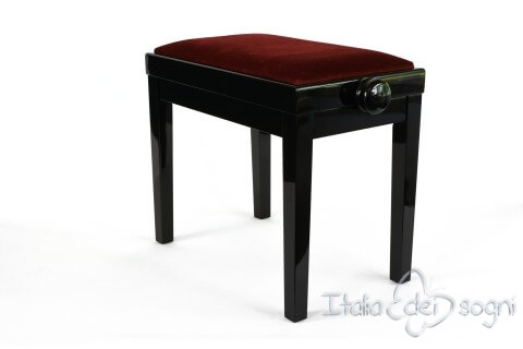 "Small Bench for Piano ""Rossini"" - bordeaux velvet"