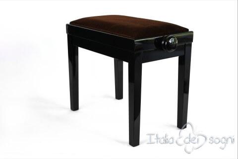 "Small Bench for Piano ""Rossini"" - brown velvet"