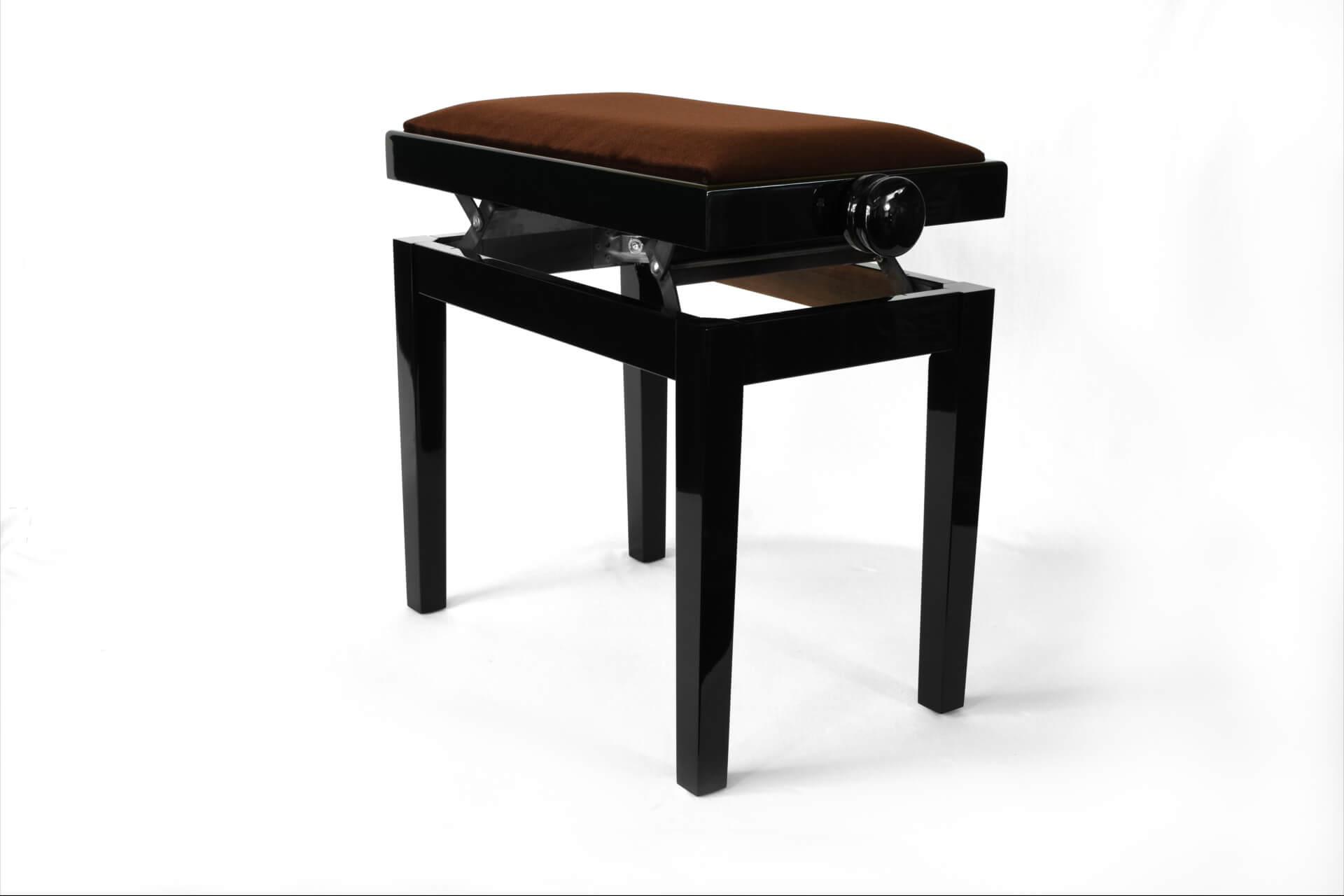 tabouret de piano rossini velours marron. Black Bedroom Furniture Sets. Home Design Ideas