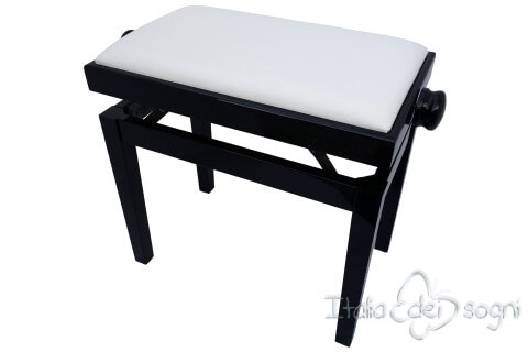 """Small Bench for Piano """"Rossini"""" - real leather white"""