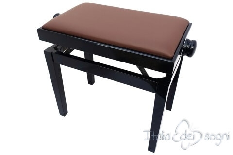 """Small Bench for Piano """"Rossini"""" - real leather brown"""