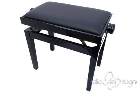 "Small Bench for Piano ""Rossini"" - real leather black"