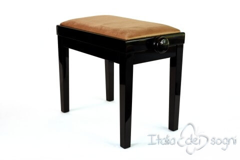 "Small Bench for Piano ""Rossini"" - hazelnut velvet"