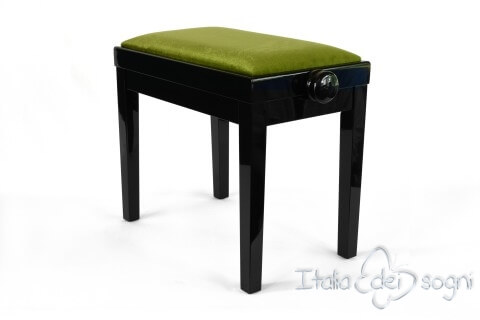 "Small Bench for Piano ""Rossini"" - green velvet"