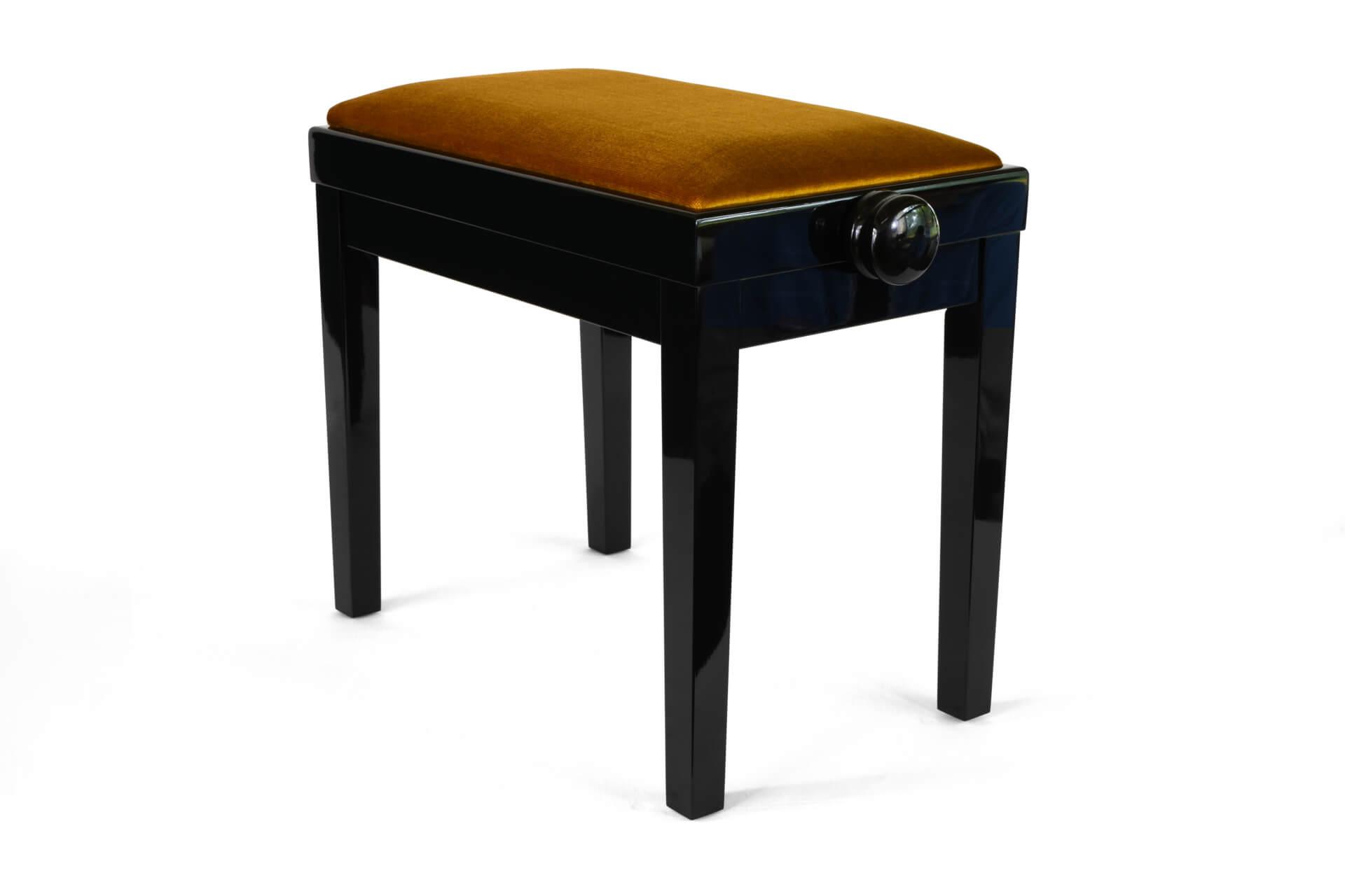 tabouret de piano rossini velours d 39 or bois de couleur noir. Black Bedroom Furniture Sets. Home Design Ideas