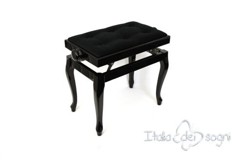 "Small Bench for Piano ""Vivaldi"" - black velvet"