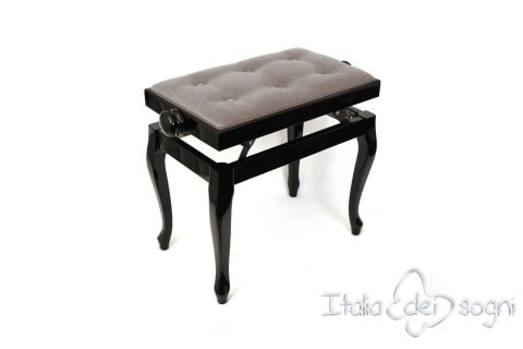 "Small Bench for Piano ""Vivaldi"" - gray velvet"