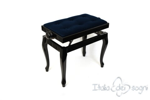 "Small Bench for Piano ""Vivaldi"" - blue velvet"