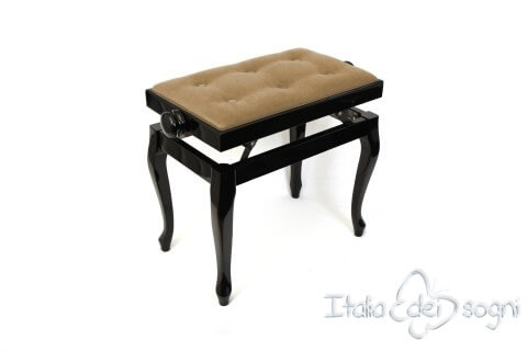 "Small Bench for Piano ""Vivaldi"" - beige velvet"