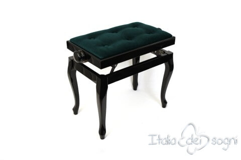 "Small Bench for Piano ""Vivaldi"" - light blue velvet"
