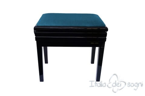 "Small Bench for Piano ""Verdi"" - light blue velvet"