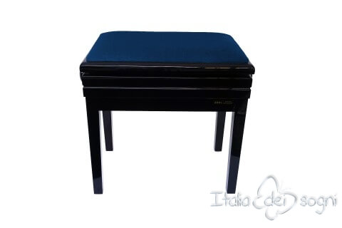 "Small Bench for Piano ""Verdi"" - blue velvet"